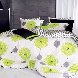 Lime Green and Grey Bedding Set
