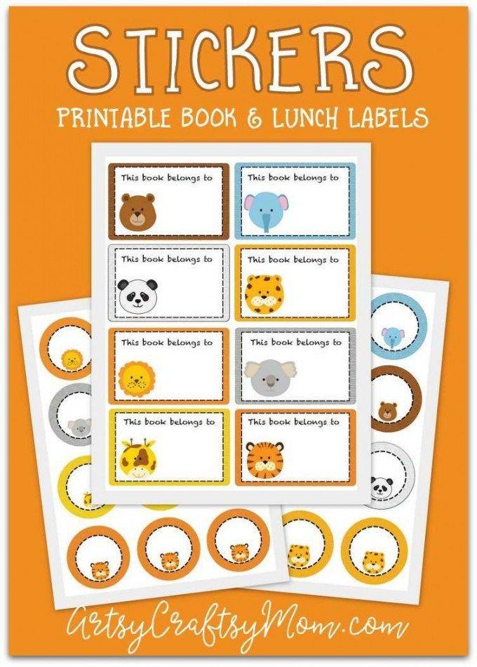 printable animal school labels printable crafts for kids school rh pinterest com