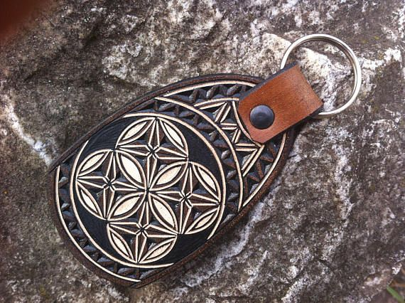 Sacred geometry hand carved leather keychain  leather keyfob
