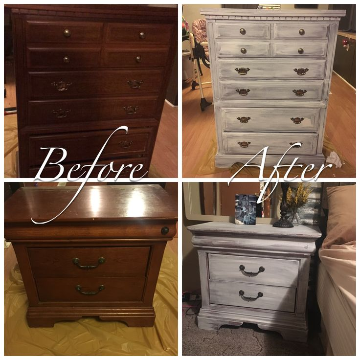 Before and after whitewash furniture distress diy
