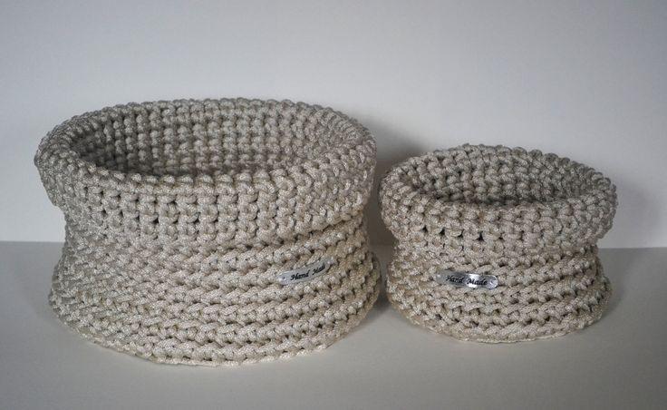 Set of 2 storage basket, handmade basket, crochet basket, home decor by iKNITSTORE on Etsy