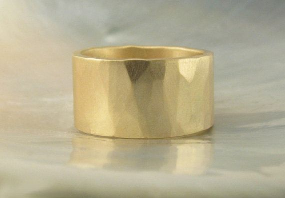 ... wide ring / wedding band in 14k gold -- hand forged, hammered, rustic