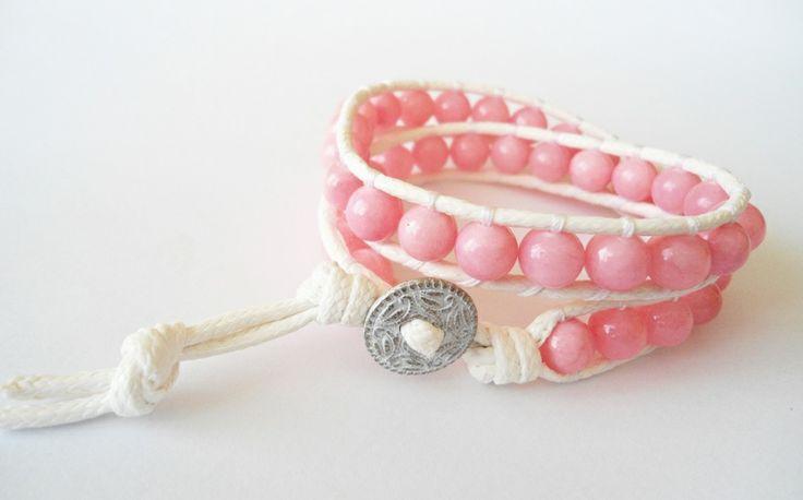Długa bransoletka zawijana różowa Jadeit w Handmade By Asiek na DaWanda.com