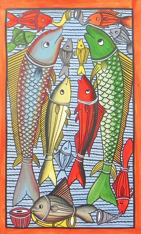 Wedding Ceremony of Fish. Kalighat Folk Painting from Bengal,India
