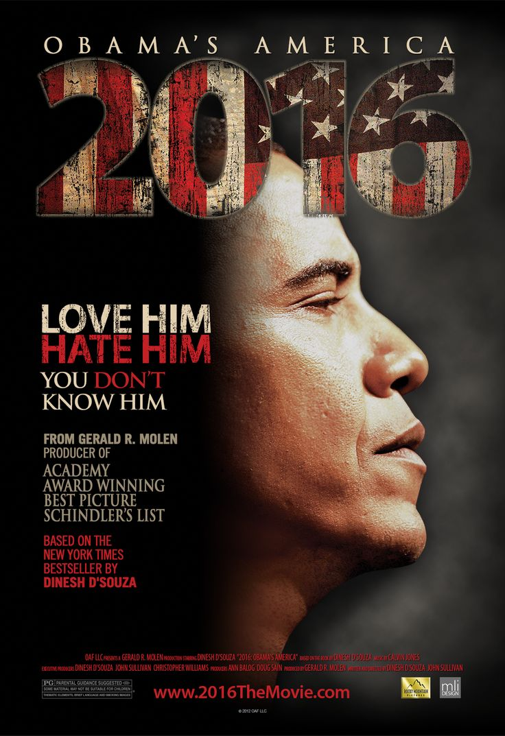 """Official One Sheet movie poster for the film """"2016 Obama's America."""" Designed by Mike Inks of Seattle based MLi Design."""