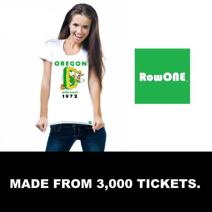 #gameday #fashion #style #contentmarketing #growthhacking #Pinterest #Row1 Row One Brand 1972 Oregon Duck Ticket Tee™ made from an authentic '72 Oregon Duck football ticket. Row One Brand sports art and gifts as seen in Forbes online.