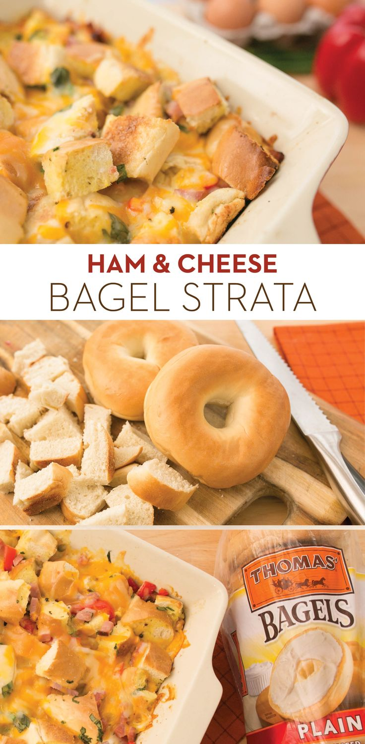 Ham & Cheese Bagel Strata: Combine ham, Monterey Jack, eggs, scallions, red peppers and cubed pieces of Thomas' Plain Bagels for this strata that can feed and please a crowd!