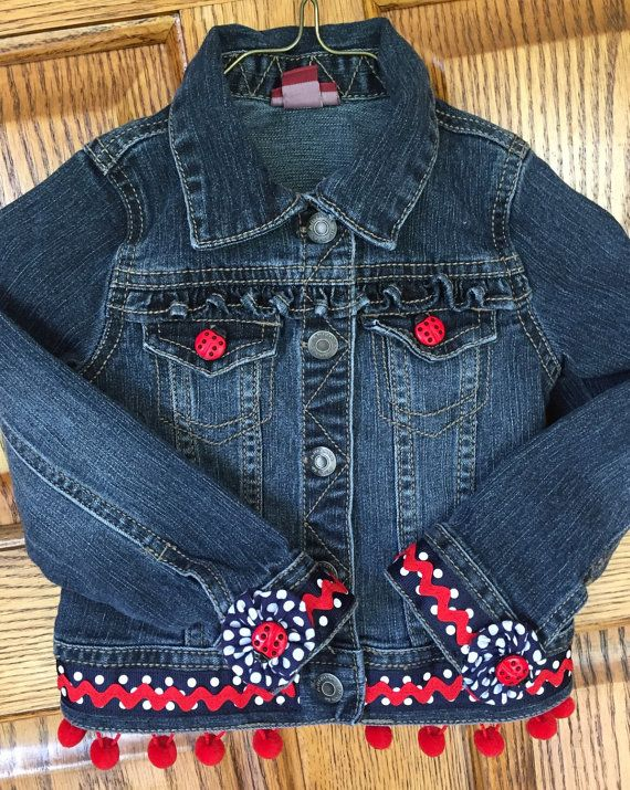 Red, white and blue denim jacket, 4th of July, lady bug embellished, 3T