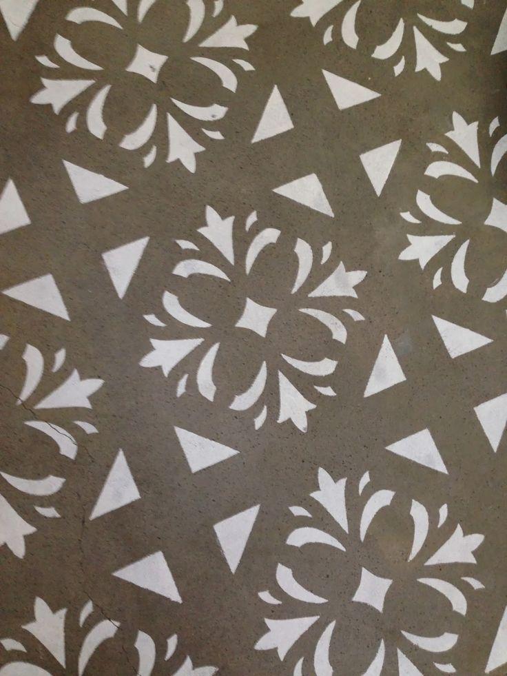 Beautiful Junk, Decorating, Stencil, Stenciling, Stencil Concrete Floor, Stenciled  Floor,