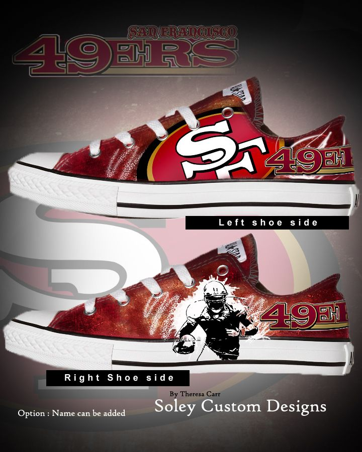 Soley Custom Designs by Theresa Carr hand painted Taylor Chucks San Francisco 49ers