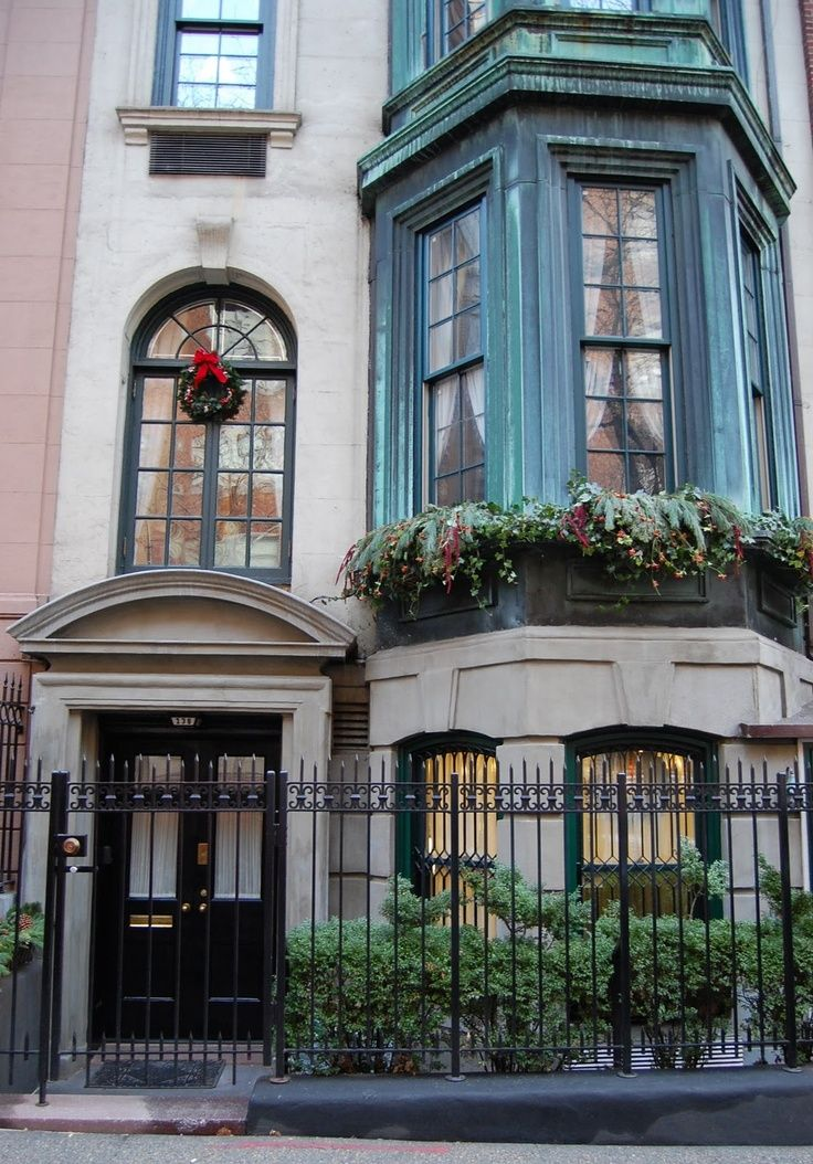 Upper East Side townhouse decked for Christmas.