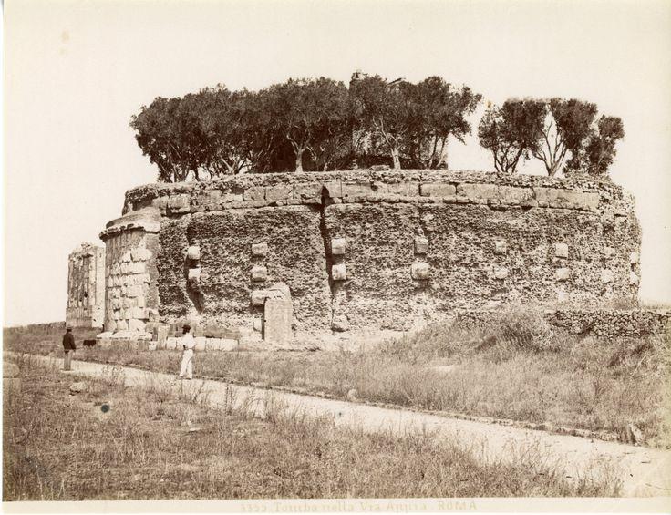 Tomba della Via Appia Vintage albumen print Tirage albuminé 20x25 Circa 1875