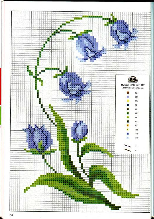 Blue flower #cross #stitch