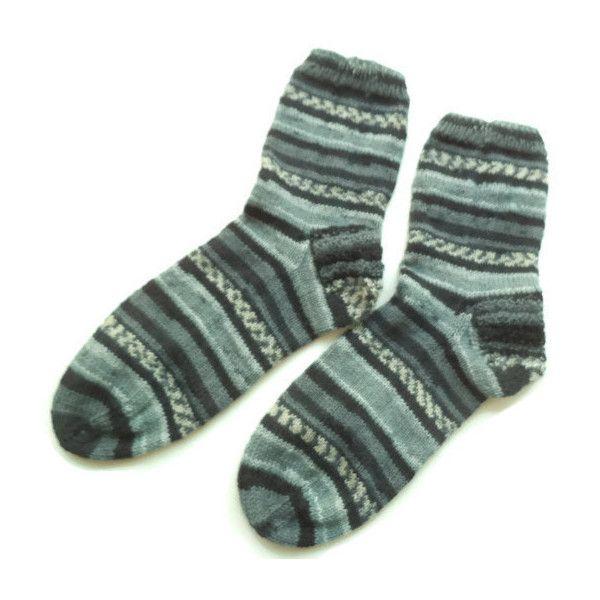 Hand knit grey mens striped socks Swollen feet Diabetic socks Wool... (135 ILS) ❤ liked on Polyvore featuring men's fashion, men's clothing, men's socks, mens woolen socks, mens grey socks, mens socks, mens gray socks and mens striped socks