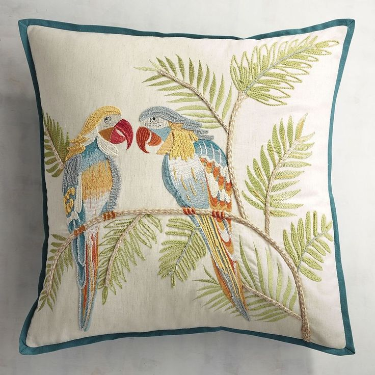 Pier 1 Imports Throw Pillow Embroidered Parrots