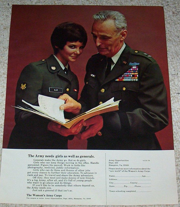 1970 vintage ad - WAC Women's Army Corps CUTE GIRL military job ADVERTISING PAGE #WomensArmyCorp