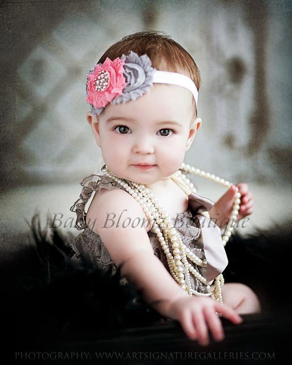 Baby Headband Gray & coral Headband Shabby Headband Baby Bows girl Headband Hair bow Flower Headband Newborn Headband. $8.95, via Etsy.