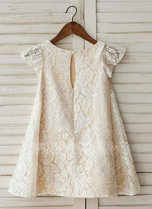 b1f54b1f48b A-Line Princess Knee-length Flower Girl Dress - Lace Short Sleeves Scoop  Neck With Lace