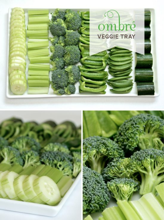 Cute idea for an ombre veggie tray but I'd replace the broccoli with fennel or start with jicama