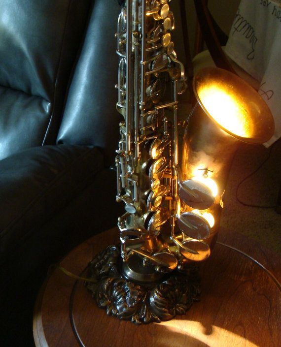 Price REDUCED Double Wired Vintage Alto Saxophone Lamp