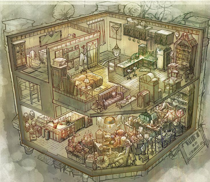I love this viewpoint. It's like a dollhouse. http://fengzhudesign.blogspot.sg/2014/01/rpg-game-cutaways.html
