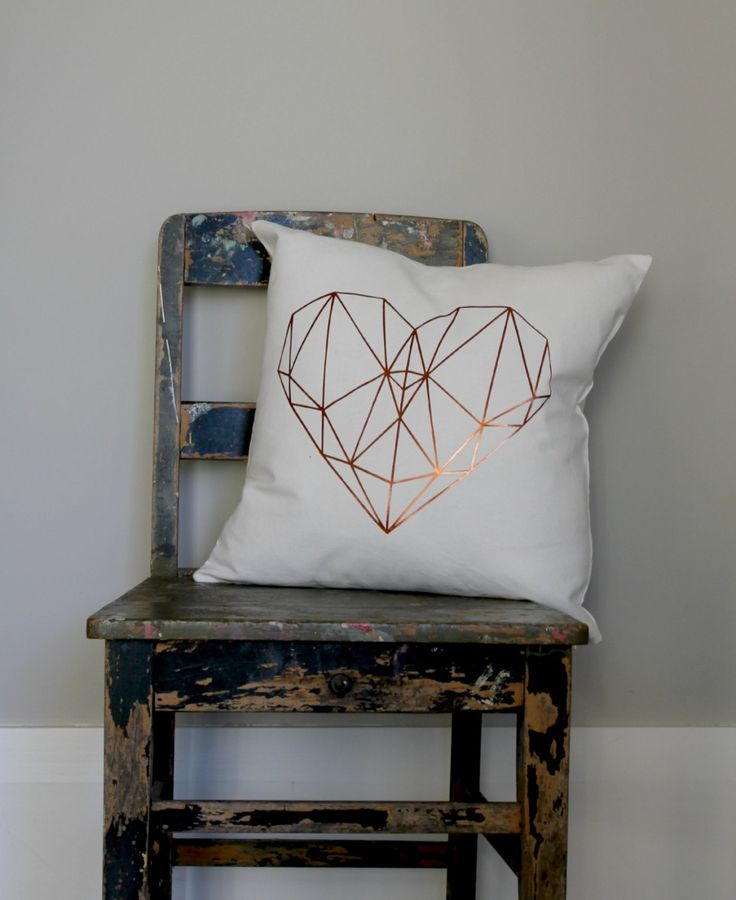 Copper Geo Heart Pillow Cover Love heart cushion girls gold bedroom decor metallic copper and white pillow white gold heart cushion (35.00 NZD) by northwestdecor
