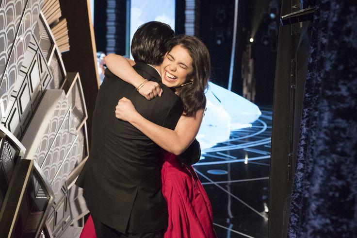 Alui'i Cravalho hugs Lin-Manuel Miranda after performing at The 2017 Oscars - The 89th Oscars(r) broadcasts live on Oscar(r) SUNDAY, FEBRUARY 26, 2017, on the ABC Television Network. (ABC/Adam Rose) LIN-MANUEL MIRANDA, AULI'I CRAVALHO