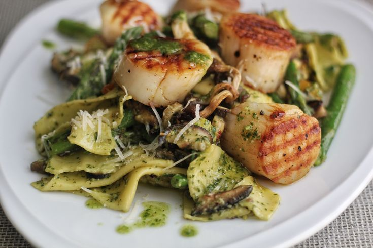 Grilled Sea Scallops with Pasta Rags, Homemade Pesto, Currant Tomatoes, Fresh Asparagus and Mushrooms