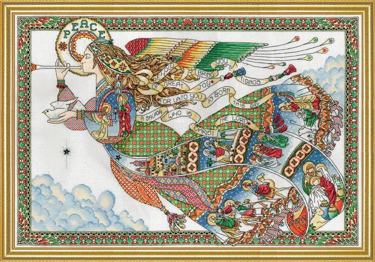 """Amazon.com: Design Works Crafts Peace Angel Counted Cross Stitch Kit, 16 by 24"""""""