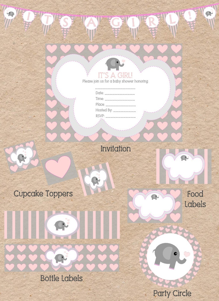 Cute Elephant Love Themed Girl Baby Shower by DecorableDesigns, $25.00
