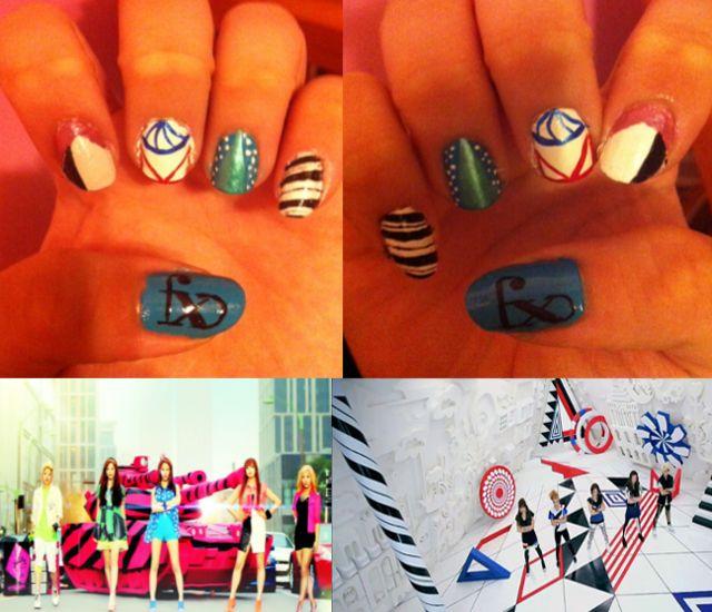 f(x) Hot Summer, Danger nail art Kpop