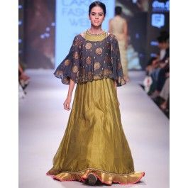 Henna Green Anarkali with Embellished Cape #ExclusivelyEOSS