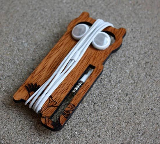 Owl earplug holder that's been wood burnt.  #woodburning #pyrography--This is just an awesomely cute and inventive solution to tangled ear buds!  :D