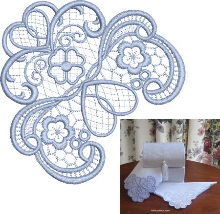 Sue Box Creations | Download Embroidery Designs | 08 - Hankie CornerMachine Lace, Download Embroidery, Boxes Creations, Lace Embroidery, Embroidery Designs Free, Hankie Corner, Sue Boxes, Machine Embroidery, Embroidery Machine