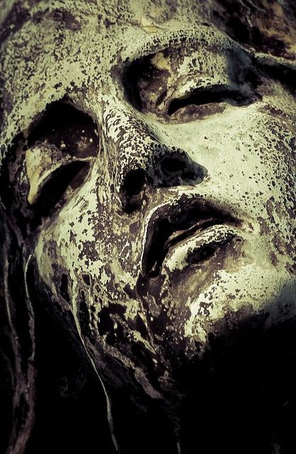 """""""Aeschylus writes, """"In our sleep, pain that cannot forget falls drop by drop upon the heart and in our own despair, against our will, comes wisdom through the awful grace of God.""""  ― Madeleine L'Engle~~Face of an Angel - Montmartre Cemetery, Paris"""