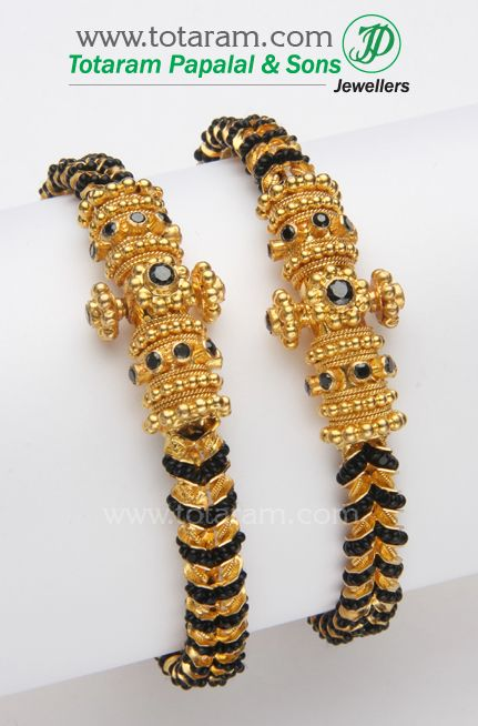 22 Karat Gold Kada with Black Beads - 1 Pair