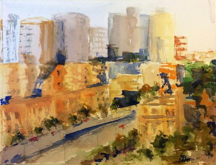 """""""Spring Street Melbourne"""" by Margaret Morgan (Watkins). Paintings for Sale. Bluethumb - Online Art Gallery"""
