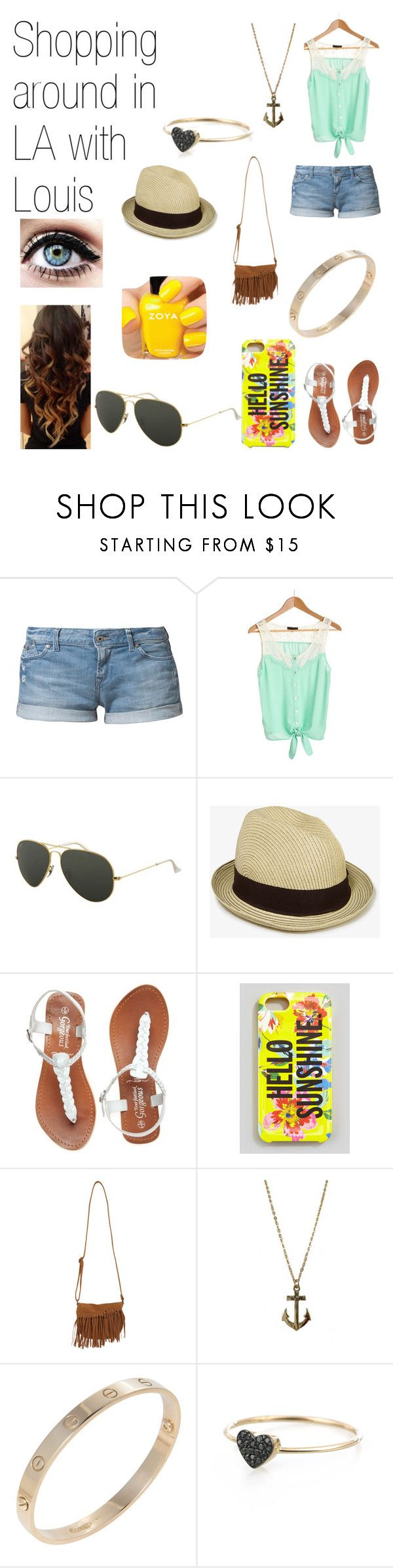"""""""Shopping around in LA with Louis."""" by one-direction-date-outfits ❤ liked on Polyvore featuring Roxy, Ray-Ban, Forever 21, Kate Spade, Wet Seal, Zoya, Jules Smith, Cartier and Kismet by Milka"""
