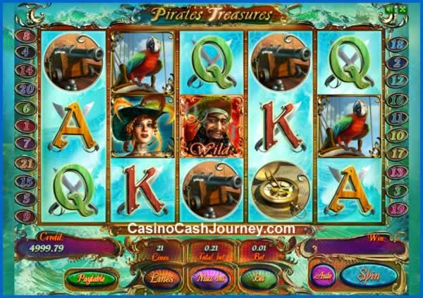 Pirates Treasures Deluxe is a 21-line and 5-reel video slot from Playson. The game is available for play on desktop and mobile, and comes with a Gamble mode as well as two bonus rounds. Trigger Free Spins for a chance to enter the game's cannon bonus with extra benefits. More this way...  http://www.casinocashjourney.com/blog/pirates-treasures-deluxe-slot-playson/