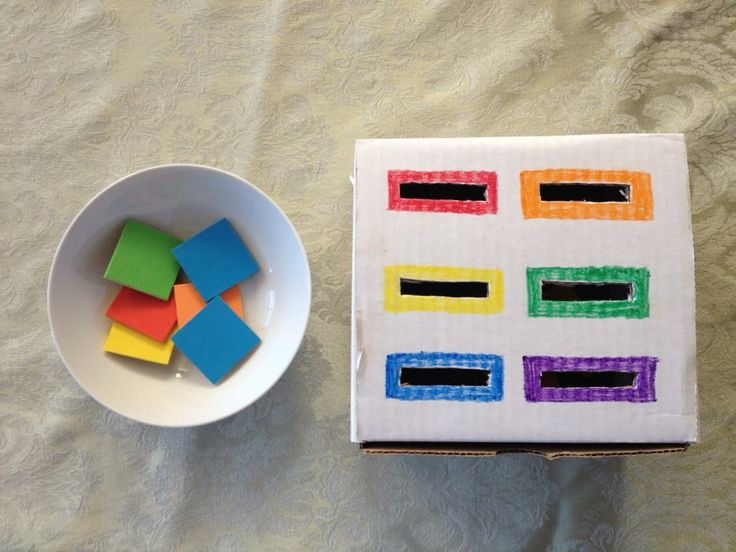 Color Recognition. I would add the words of each color on the box so kids can become familiar with reading and spelling them.
