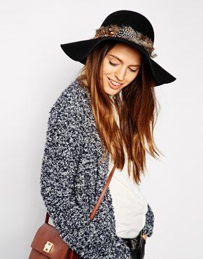 ASOS Feather Band Floppy Hat