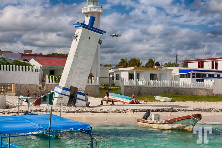 Leaning lighthouse - Puerto Morelos, Mexico