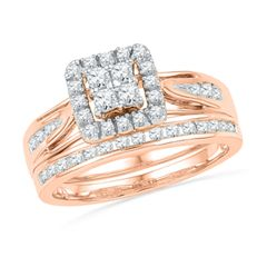 0.50 CT. T.W. Quad Diamond Frame Bridal Set in 10K Rose Gold  - Peoples Jewellers