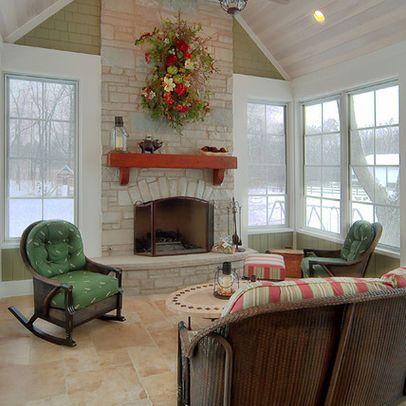 3 Season Room Design with fireplace can use Eze-Breeze Sliding panel windows from EzeBreezeRetailStore.com