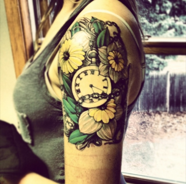 tattoo cute pocketwatch time colour halfsleeve flower ink my whole body pinterest. Black Bedroom Furniture Sets. Home Design Ideas