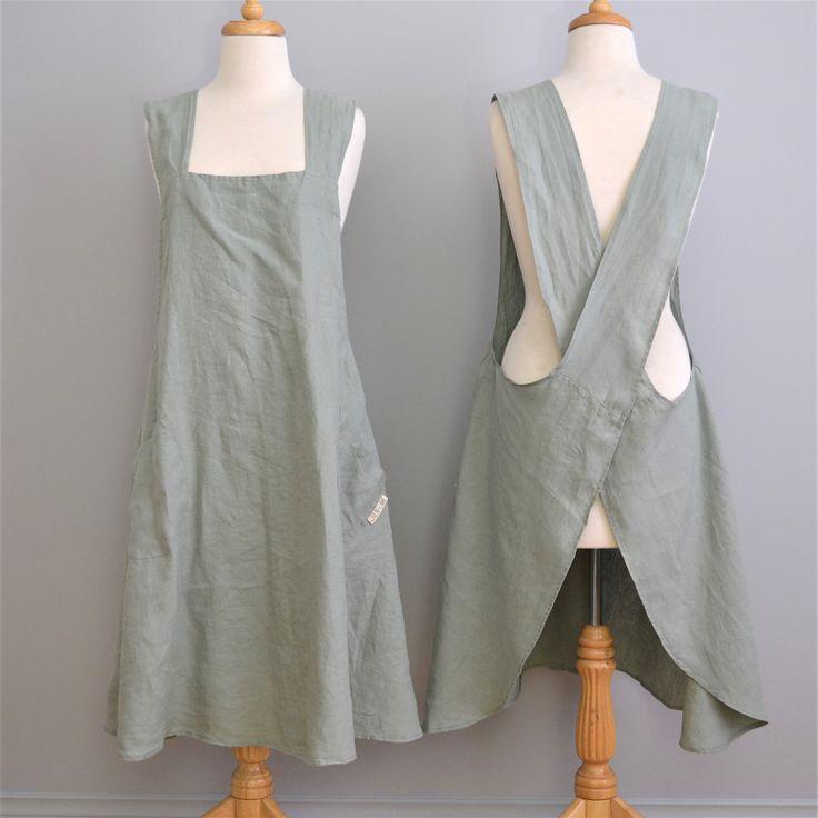 100% stonewashed French linen apron in Aqua colour