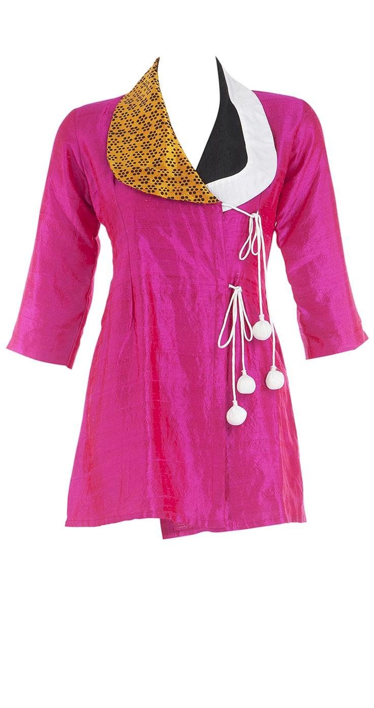 Pink silk overlapped top with rounded collar by masaba. i want want WANT.