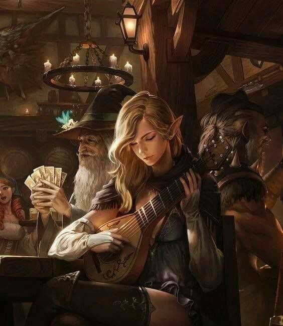 She plays here in the only tavern that allows magical creatures to come in. The money she makes, she gives half of it away to the local orphanage & the other she statches away.