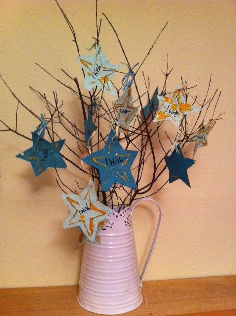 A wish tree for New year. New year activity for kids using a simple nature craft