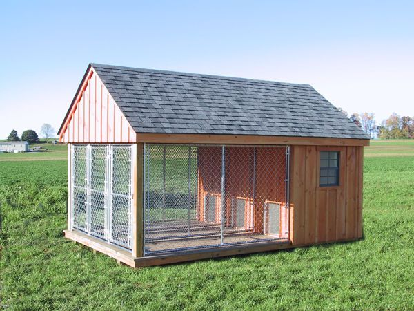 Details about k 9 pa dutch built dog kennel outdoor run for Dog kennel shed combo plans